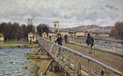 Alfred Posters - Footbridge at Argenteuil Poster by Alfred Sisley