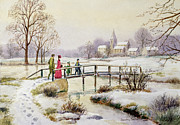 Christmas Card Painting Framed Prints - Footbridge in Winter Framed Print by Stanley Cooke