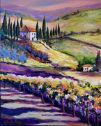 Italian Landscapes Prints - Foothills Vines and Olives of Tuscany  SOLD Print by Therese Fowler-Bailey
