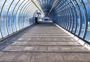 Metro Journey Posters - Footpath And Tunnel Made Of Glass Poster by Fizzy Image