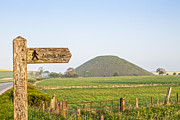Signpost Prints - Footpath Signpost to Avebury Near Silbury Hill Print by Colin and Linda McKie