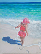 Seashore Pastels Prints - Footprints in the Sand Print by Holly Kallie