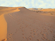 Footprints In The Sand Print by Michael Waters