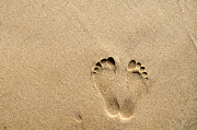 William Voon Prints - Footprints On Sandy Beach Print by William Voon