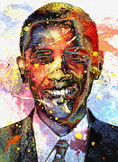 Barack Obama  Painting Framed Prints - For a colored world Framed Print by Stefan Kuhn