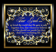Framed Jesus Posters Framed Prints - For God so loved the world 2 Framed Print by Karen Showell