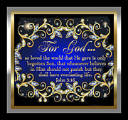 Framed Jesus Posters Framed Prints - For God so loved the World Framed Print by Karen Showell