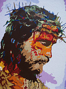 Crucifix Paintings - For HE So Loved -Jesus by Kelly Hartman