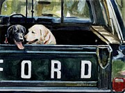Ford Pickup Posters - For Our Retriever Dogs Poster by Molly Poole