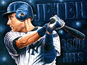 Derek Jeter Paintings - For Sale 10 Limited Edition  Canvas Prints  Now   Only  4  Left   by Sports Art World Wide John Prince