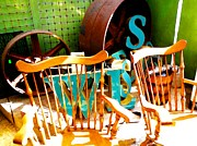Rocking Chairs Digital Art - For Sale by Devalyn Marshall