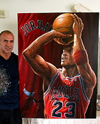 Autographed Paintings - FOR SALE MICHAEL JORDAN ORIGINAL PAINTING also limited edition 10  prints  by Sports Art World Wide John Prince