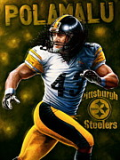 Advertisment Paintings - FOR SALE Original  Polamalu  PLUS 10 LIMITED EDITION CANVAS  PRINTS   by Sports Art World Wide John Prince