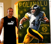Advertisment Paintings - FOR SALE Original Troy  Polamalu   PLUS 10 LIMITED  PRINTS 40 x 30 inches  by Sports Art World Wide John Prince