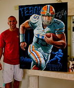 Tim Tebow Paintings - For Sale Signed Tim Tebow Original Painting Heisman 2007  by Sports Art World Wide John Prince