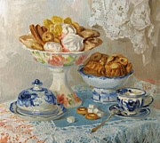 Tea Drinking Prints - For tea Print by Victoria Kharchenko