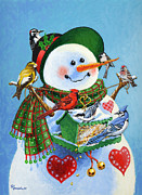 Christmas Snowman Framed Prints - For the Birds Framed Print by Richard De Wolfe