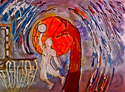 Basketball Sports Mixed Media Prints - For the love of Basketball Print by Artista Elisabet