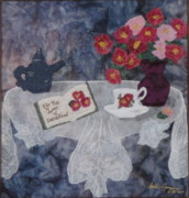 White Tapestries - Textiles Originals - For the Love of Camellias by Anita Jacques