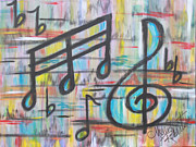 Modern Acrylic Paintings - For the Love of Music II by Molly Roberts