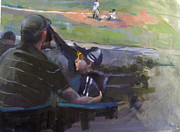 Baseball Paintings - For the love of the game Dad and Me by Amber Wanielista