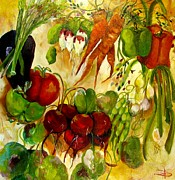 Green Beans Paintings - For the Love of Vegetables by Delilah  Smith