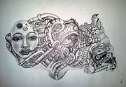 Steampunk Drawings - For Thought by Chris Gill