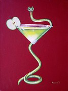 Apple Martini Posters - Forbidden Appletini Poster by Ksusha Scott