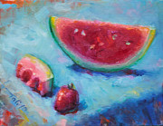 Watermelon Painting Posters - Forbidden Fruit Poster by Talya Johnson