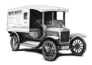 Charcoal Car Posters - Ford 1923 civil ambulance car drawing poster Poster by Kim Wang