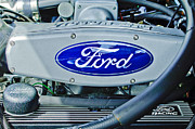 Ford Muscle Car Framed Prints - Ford Engine Emblem Framed Print by Jill Reger