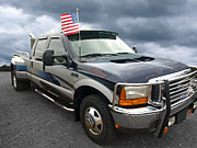 Patriotic Scenes Prints - Ford F350 Super Duty Truck Print by Gill Billington