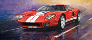 Car Painting Framed Prints - Ford GT 2005 Framed Print by Yuriy  Shevchuk