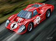 Motorsports Posters - Ford GT-40 at Le Mans Poster by David Kyte