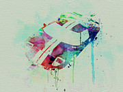 Vintage Car Drawings Prints - Ford GT Top Watercolor  Print by Irina  March
