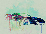 European Cars Drawings Posters - Ford GT Watercolor 2 Poster by Irina  March