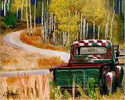 Autumn Landscape Mixed Media Prints - Ford in a Field Print by Craig Nelson