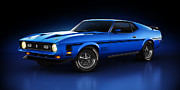 Mach 1 Posters - Ford Mustang Mach 1 - Slipstream Poster by Marc Orphanos
