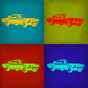 Old Mixed Media Metal Prints - Ford Mustang Pop Art 1 Metal Print by Irina  March