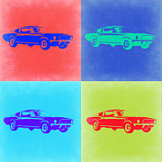 Ford Muscle Car Framed Prints - Ford Mustang Pop Art 2 Framed Print by Irina  March