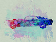 Automobile Drawings Posters - Ford Mustang Watercolor 1 Poster by Irina  March