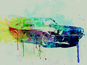 Engine Drawings Posters - Ford Mustang Watercolor 2 Poster by Irina  March