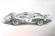 Motorsport Drawings - Ford P68 by Steve Jones