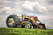 Machinery Photo Posters - Ford PowerMaster Tractor on a Hill Poster by Gary Heller