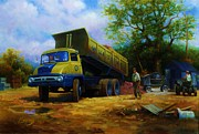 Gravel Painting Prints - Ford Thames Trader Print by Mike  Jeffries