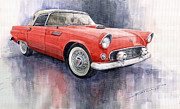 Ford Watercolor Framed Prints - Ford Thunderbird 1955 Red Framed Print by Yuriy  Shevchuk
