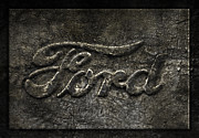 Ford Pickup Posters - Ford Tough Antique Truck Logo Poster by John Stephens
