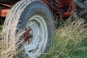Rural Life Photo Framed Prints - Ford Tractor Tire Framed Print by Jennifer Lyon