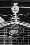 Hotrod Posters - Ford Winged Hood Ornament black and white Poster by Jill Reger