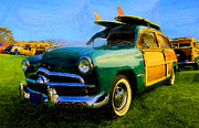 Campus Digital Art Posters - Ford Woodie with Longboards Poster by Ron Regalado